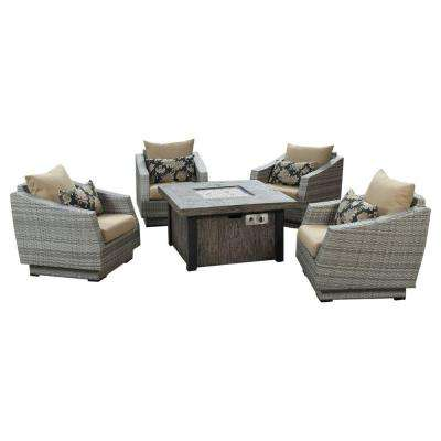 Cannes 5-Piece Patio Fire Pit Seating Set with Delano Beige Cushions