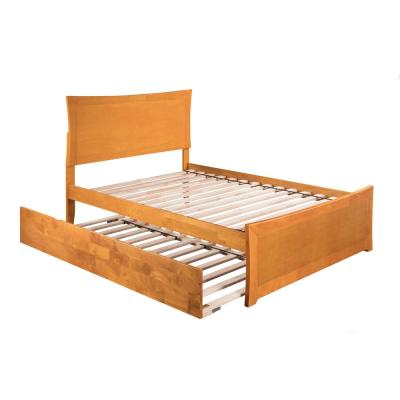 Metro Caramel Full Platform Bed with Matching Foot Board with Twin Size Urban Trundle Bed