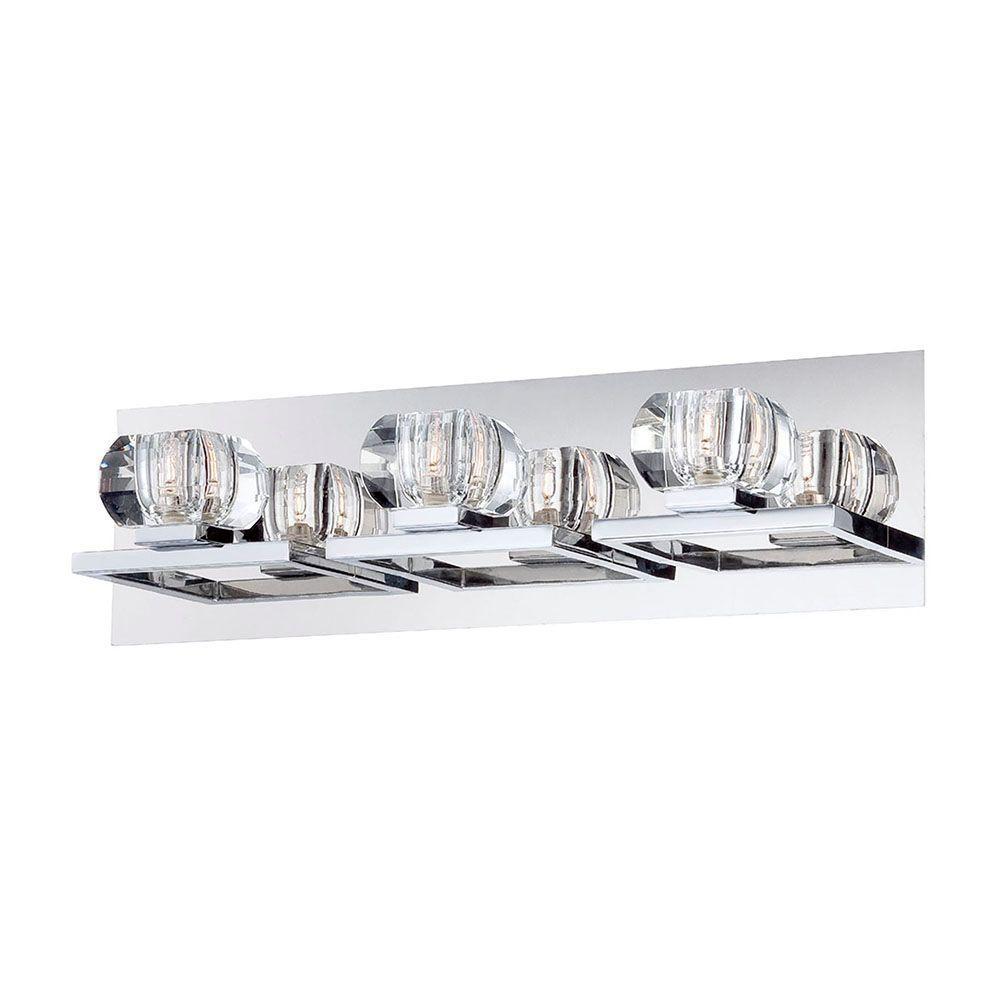 Casa Collection 3-Light Chrome and Clear Bath Light