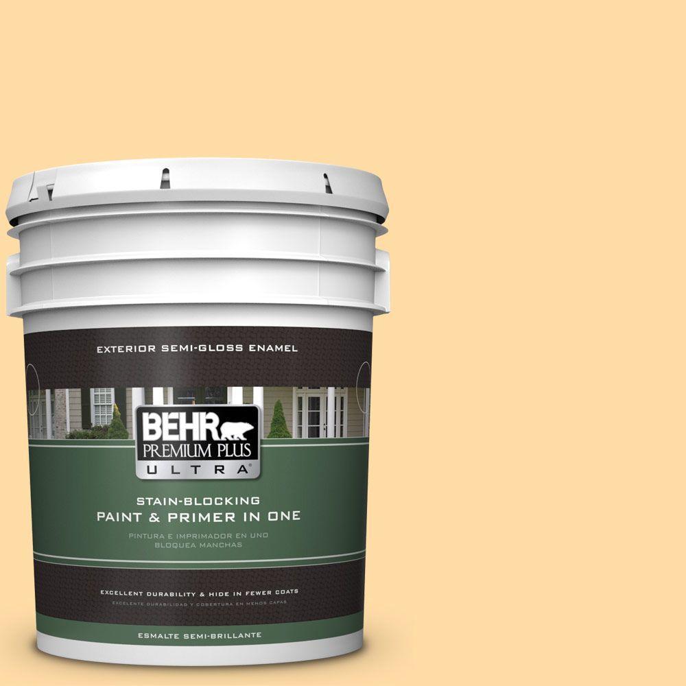 BEHR Premium Plus Ultra 5-gal. #300A-3 Melted Butter Semi-Gloss Enamel Exterior Paint