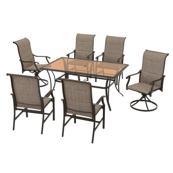 Hampton Bay Riverbrook Espresso Brown 7 Piece Outdoor Patio Aluminum Rectangular Glass Top Dining Set With Padded Sling Chairs Fm18107 Al Dcsv The Home Depot