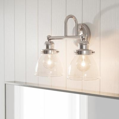Albona 2-Light Brushed Nickel Vanity Light with Clear Seeded Glass Shades