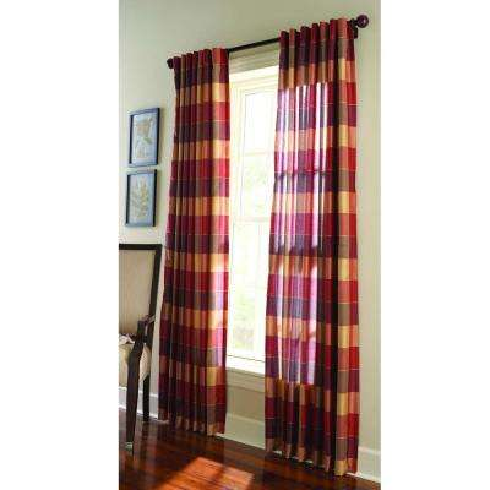 Faux Silk Plaid Light Filtering Window Panel in Miso Merlot - 50 in. W x 108 in. L