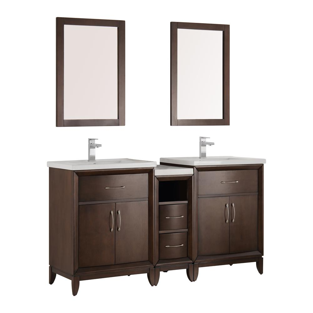 Fresca Cambridge 60 in. Vanity in Antique Coffee with Porcelain Vanity Top in White with White Ceramic Basins and Mirror