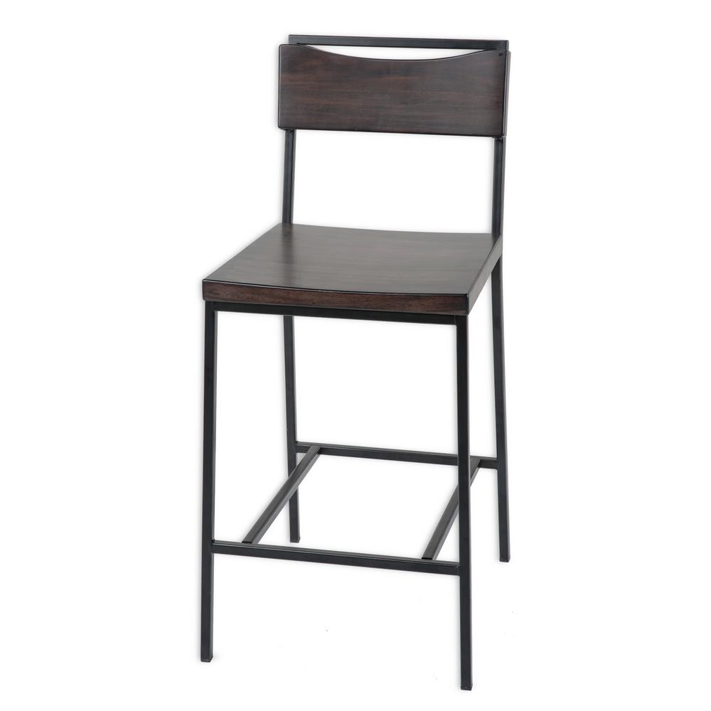 26 in. Columbus Metal Counter Stool with Black Cherry Wooden Seat