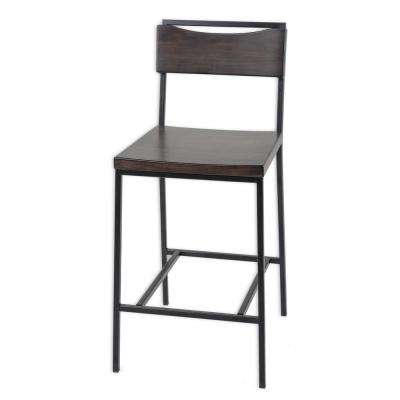 26 in. Columbus Metal Counter Stool with Black Cherry Wooden Seat and Matte Black Frame Finish