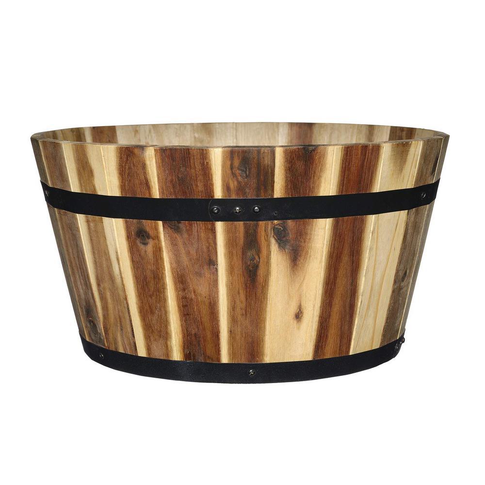 21 in. Acacia Wood Whiskey Barrel Planter