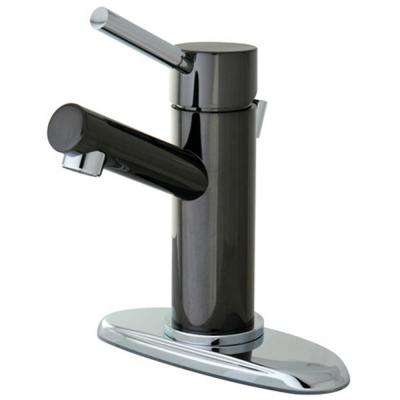 4 in. Centerset Single-Handle Bathroom Faucet Bathroom Faucet in Black and Chrome