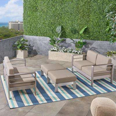 cape Coral Silver 4-Piece Metal Outdoor Loveseat and Ottoman Set with Khaki Cushion
