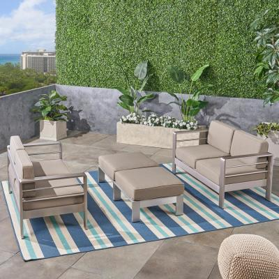 Cape Coral Silver 4-Piece Metal Patio Conversation Seating Set with Khaki Cushions