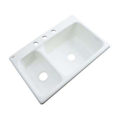 Wyndham Drop-In Acrylic 33 in. 3-Hole Double Bowl Kitchen Sink in White