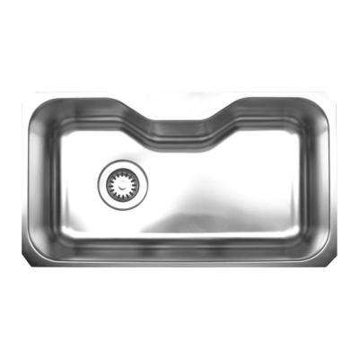 Noahu0027s Collection Undermount Brushed Stainless Steel 18.375 In. 0 Hole  Single Bowl Kitchen Sink