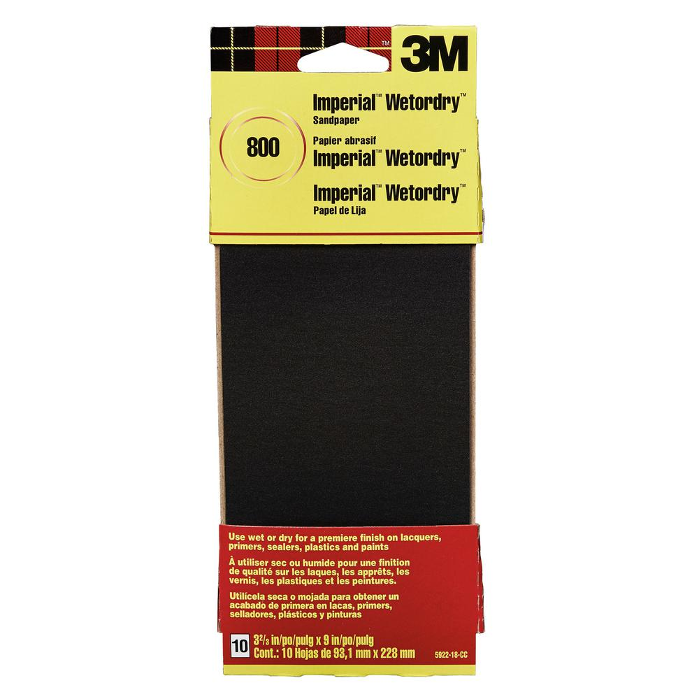 3M Imperial Wetordry 3-2/3 in. x 9 in. 800 Grit Sandpaper Sheets (10 Sheets-Pack)