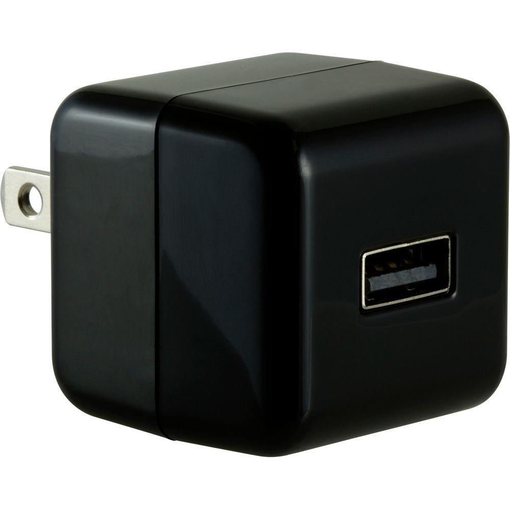 1.0-Amp Single Port AC to USB Adapter, Folding Prongs - Black