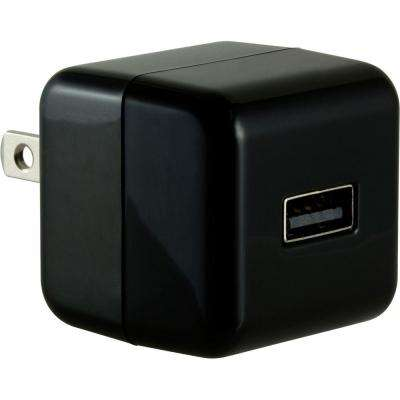 1.0-Amp Single Port AC to USB Adapter, Folding Prongs - Black