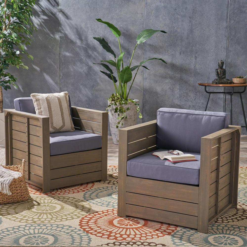 Noble House Oxnard Gray Armed Wood Outdoor Lounge Chairs with Gray Cushions (2-Pack)