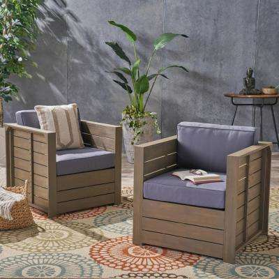 Oxnard Gray Armed Wood Outdoor Lounge Chairs with Gray Cushions (2-Pack)