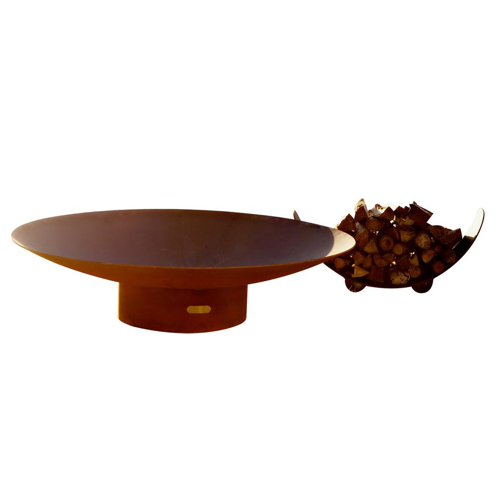 Fire Pit Art Asia 60 in. Carbon Steel Fire Pit in Iron Oxide with Brass Burner Lava Rock Flex Line Kit and Plate