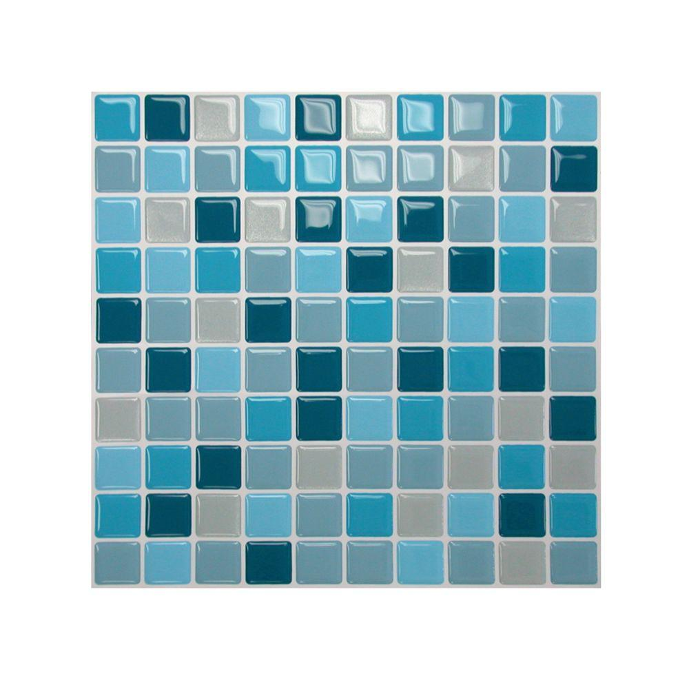 Smart Tiles 10 in. x 10 in. Multi Colored Peel and Stick Lagoon Mosaic Decorative Wall Tile (1-Pack) - DISCONTINUED
