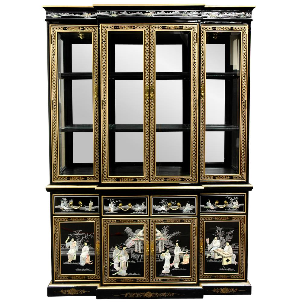 Oriental furniture black lacquer landscape ming pagoda top for Oriental furniture