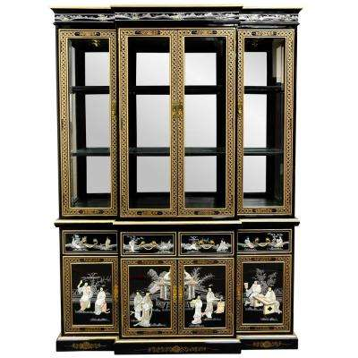 Superbe Oriental Furniture Black Lacquer Breakfront Cabinet