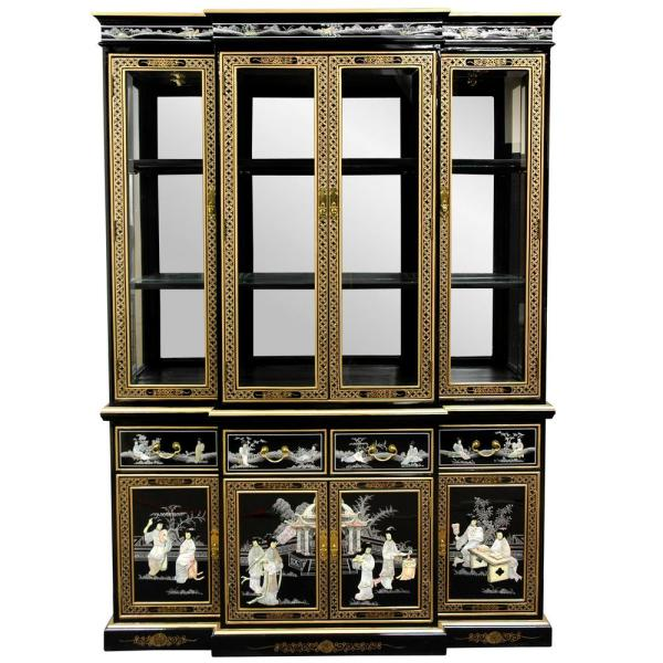 Oriental Furniture Black Lacquer Breakfront Cabinet
