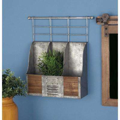 Metallic Gray Wall Mount 3-Bottle Wine Rack