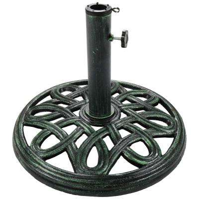 17 in. Round Green Cast Iron Outdoor Patio Umbrella Base Stand