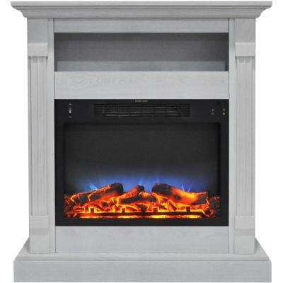 Drexel 34 in. Electric Fireplace with Multi-Color LED Insert and White Mantel