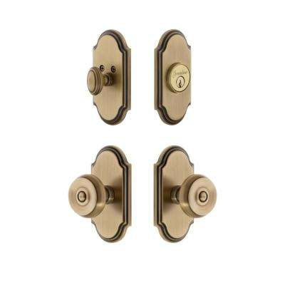 Arc Plate 2-3/4 in. Backset Vintage Brass Bouton Door Knob with Single Cylinder Deadbolt