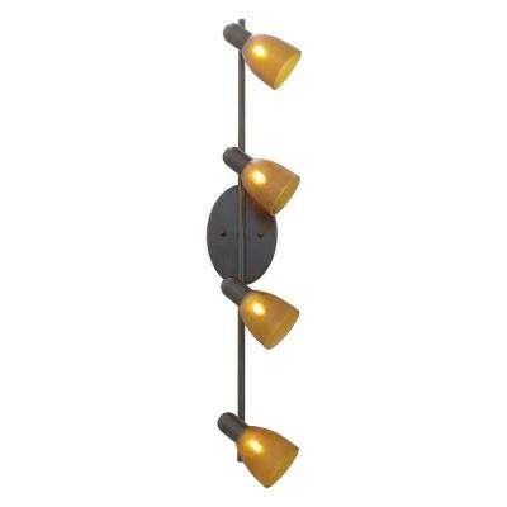 Benita 4-Head Bronze Lighting Track with Amber Shades