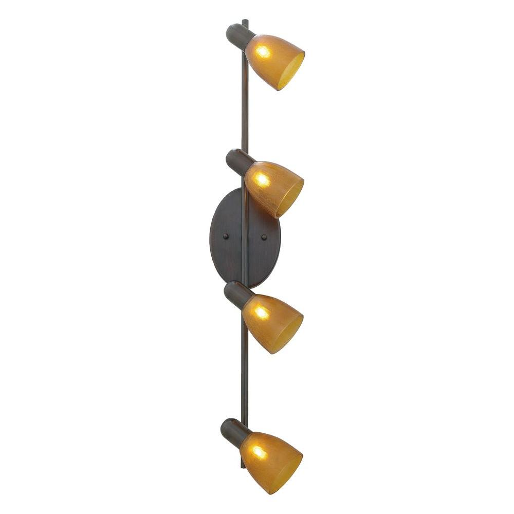 Eglo Benita 4 Head Bronze Lighting Track With Amber Shades