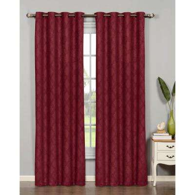 Semi-Opaque Newbury Lattice 54 in. W x 84 in. L Room Darkening Grommet Extra Wide Curtain Panel in Brick