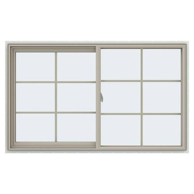 59.5 in. x 35.5 in. V-2500 Series Desert Sand Vinyl Left-Handed Sliding Window with Colonial Grids/Grilles