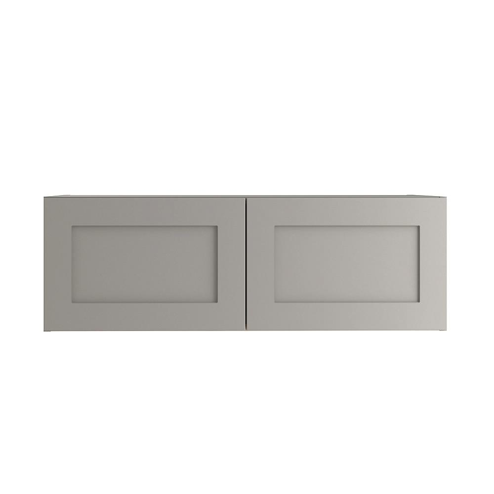 Hampton Bay Cambridge Assembled 36x12x24.5 in. Refrigerator Wall Cabinet in Gray