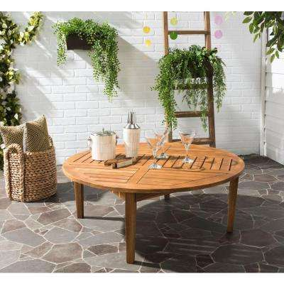Danville 39.4 in. Acacia in Teak Brown Round Outdoor Coffee Table