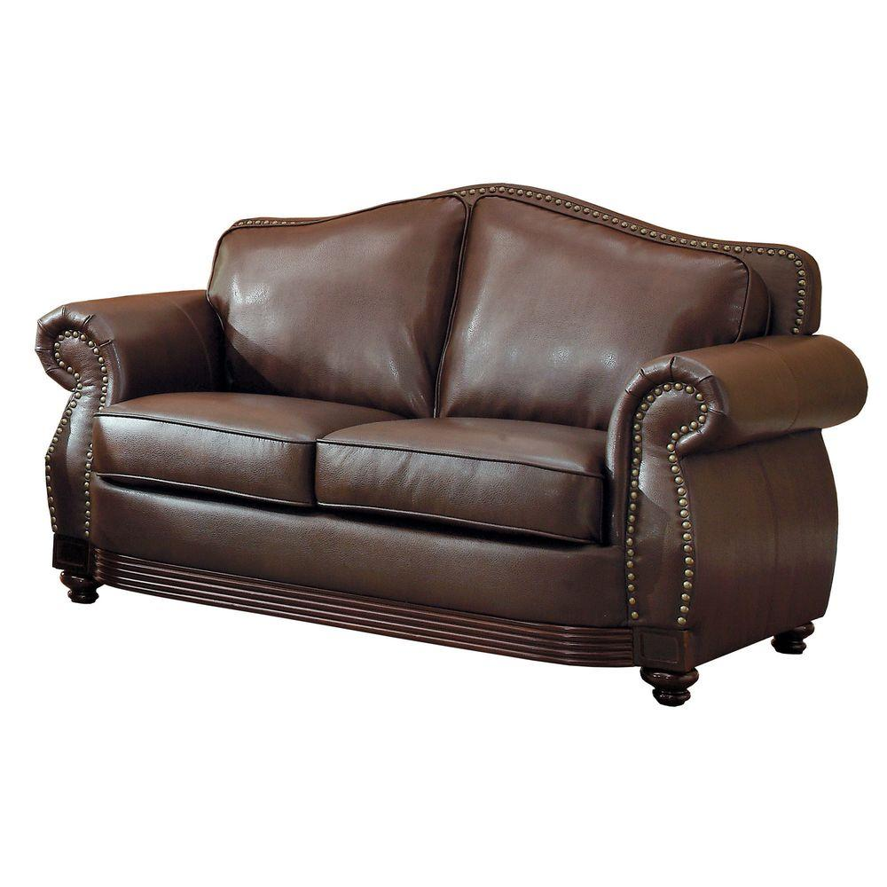 HomeSullivan Kelvington Chocolate Bonded Leather Loveseat