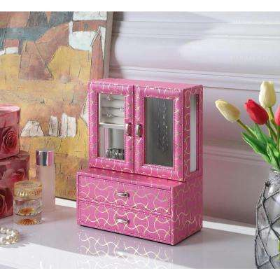 12 in. Fuschia Pink Pattern Leather Tempered Glass Jewelry Case