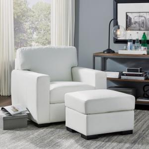 HOMESTYLES Erin Ivory White Faux Leather Club Chair and ...