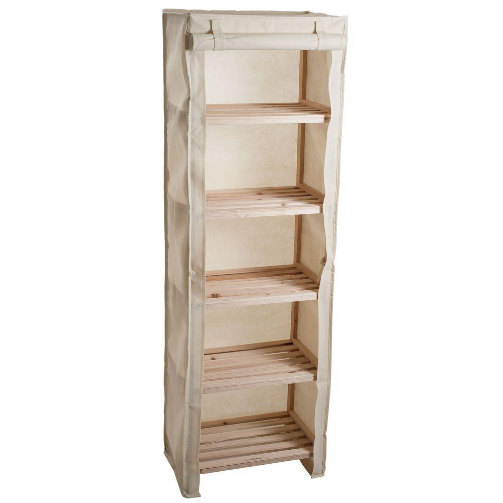 lavish home 5 tier wood storage shelving rack with removable cover