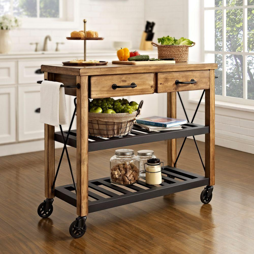 Crosley Roots Rack Industrial Kitchen Cart In NaturalCFNA - Crosley kitchen island cart natural wood top