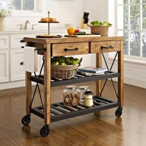 Crosley Roots Rack Industrial Kitchen Cart in Natural by Crosley