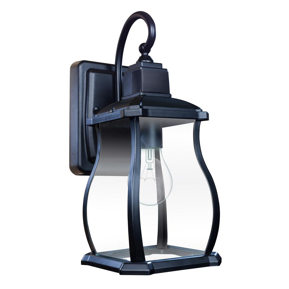 Home Decorators Collection Northampton 1 Light Black 180 Motion Activated Outdoor Wall Lantern