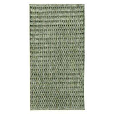 Saddlestitch Green/Black 2 ft. x 12 ft. Runner Rug