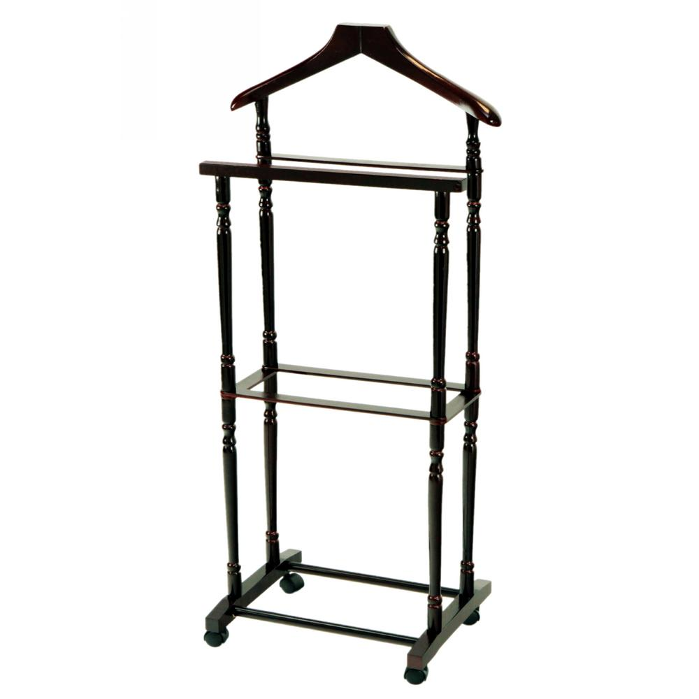 Megahome Espresso Men Suit Valet Stand With Hanger