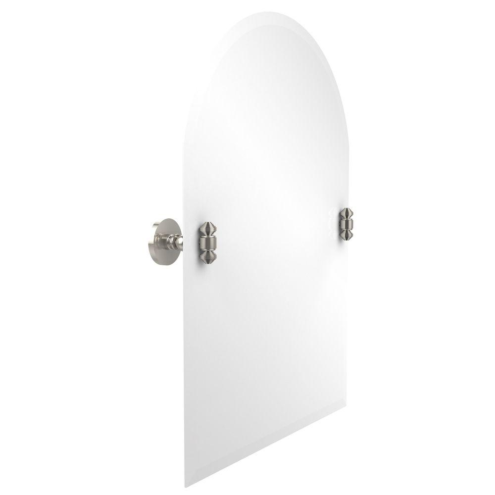 Allied Brass South Beach Collection 21 in. x 29 in. Frameless Arched Top Single Tilt Mirror with Beveled Edge in Polished Nickel