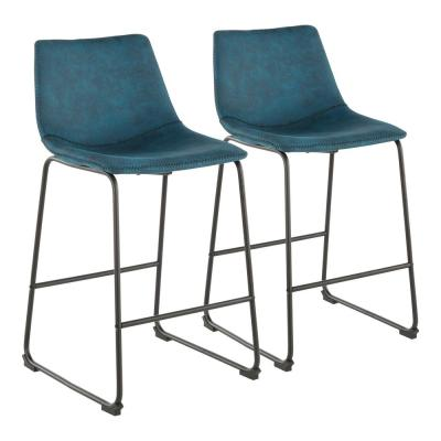 Duke 25 in. Industrial Counter Stool with Blue Cowboy Fabric and White Stitching (Set of 2)