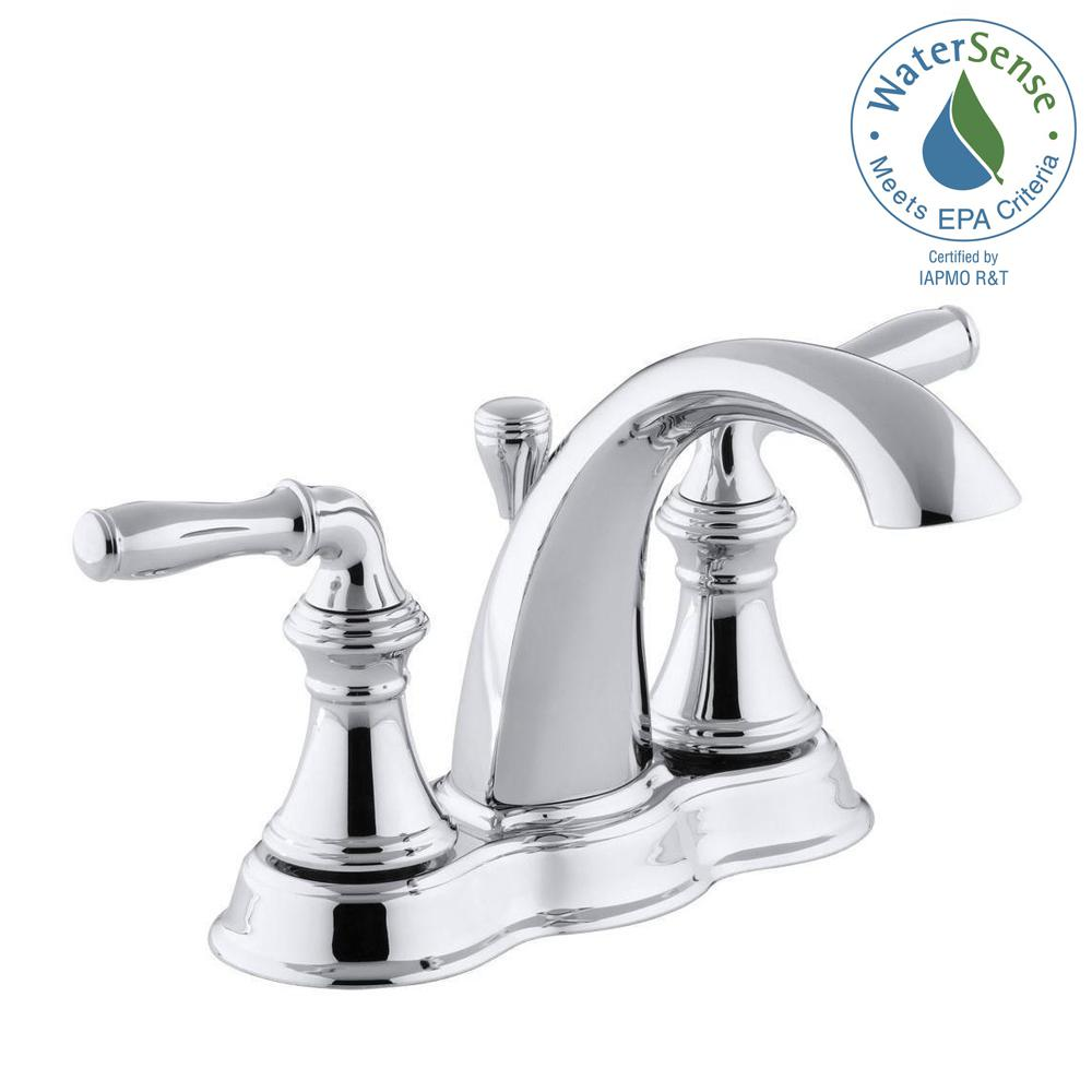 Bathroom Sink Faucet 4 Inch Centerset 2 Handle Arc Polished Chrome