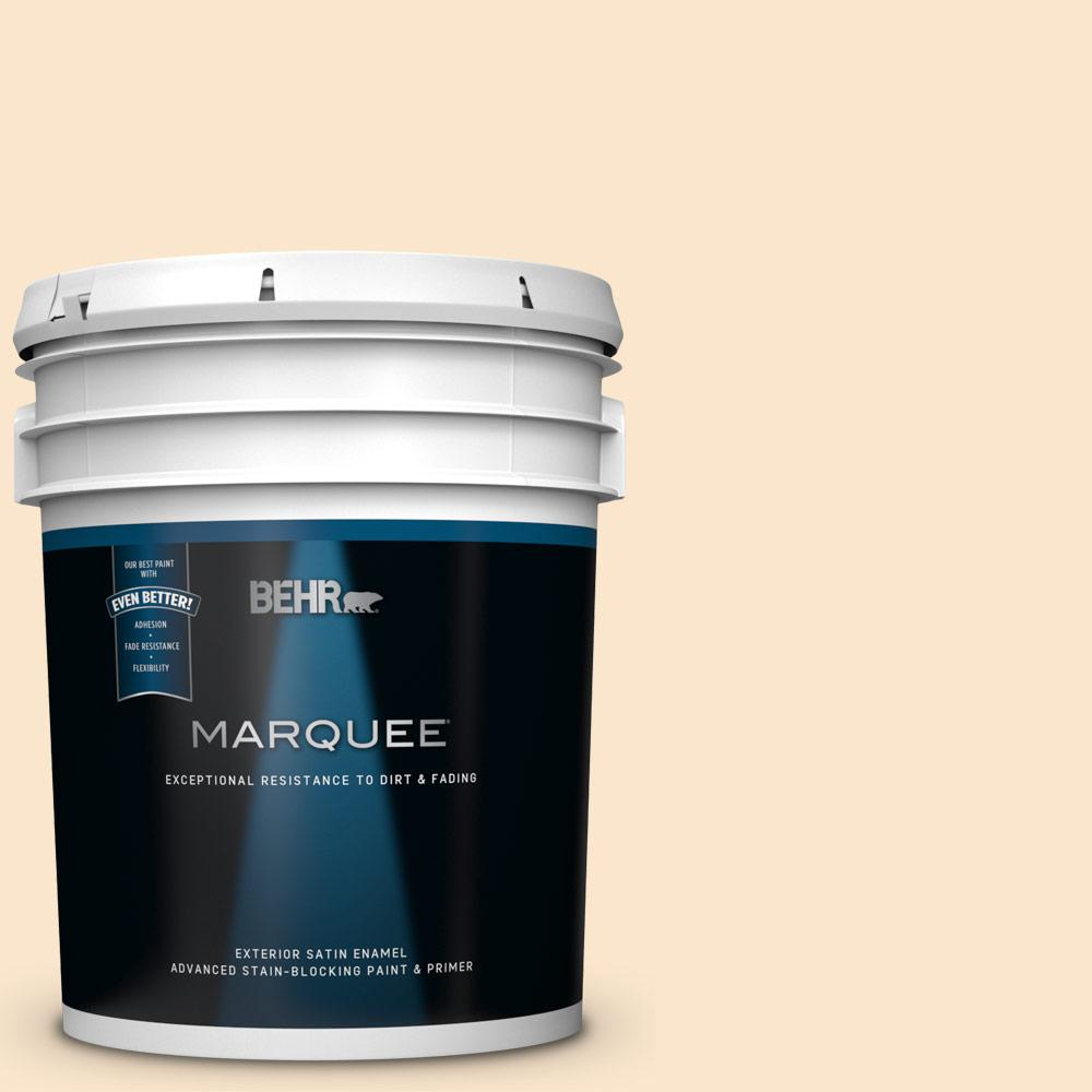 Behr Marquee 5 Gal M240 1 Bay Scallop Satin Enamel Exterior Paint And Primer In One 945005 The Home Depot