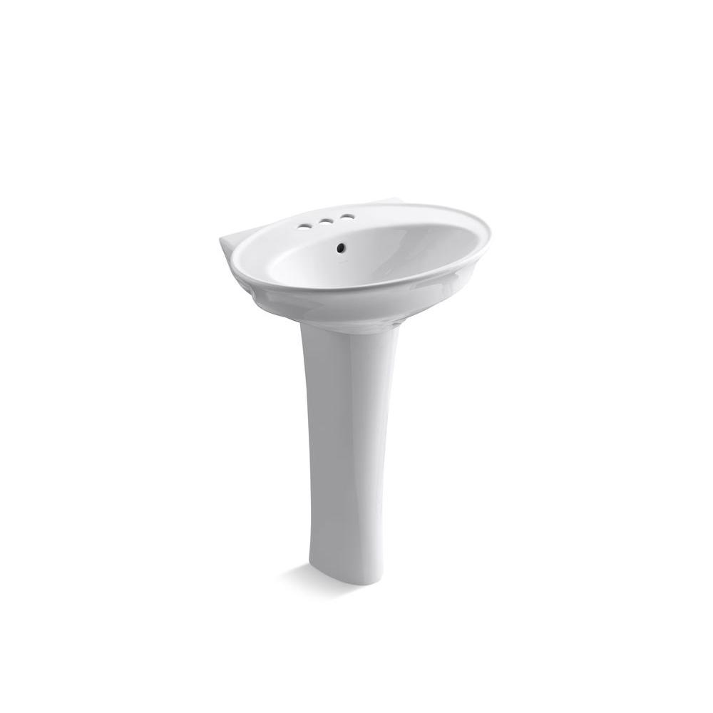 KOHLER Serif Pedestal Lavatory with 4 in. Centers in White-DISCONTINUED
